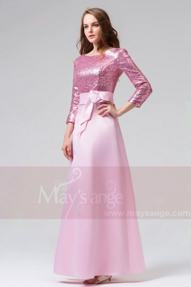 Pink evening dress - Beautiful Sequined Pink Gala Night Dress With Long Sleeves - L823 #1