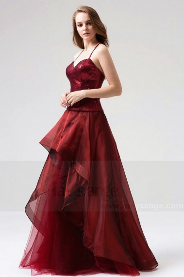 Red evening dress - BURGUNDY LONG DRESS SEQUINED BODICE WITH SPAGHETTI STRAPS - L816 #1