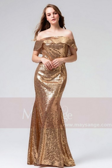 robes soirée long d'or  L824 - L824 #1