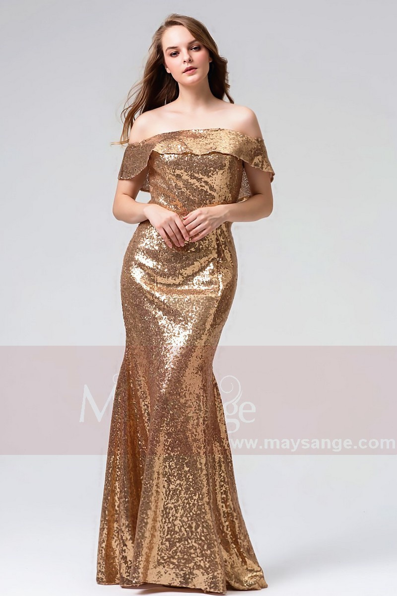 f5b8e4d38f30b Mermaid Sequined Off-The-Shoulder Gold Prom Dress