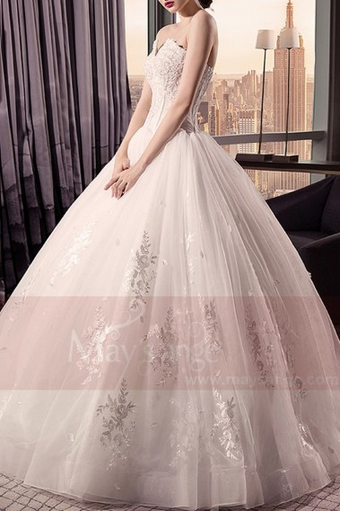 Long wedding dress - Floor-Length Strapless Princess Bridal Dress Beaded Bodice - M398 #1
