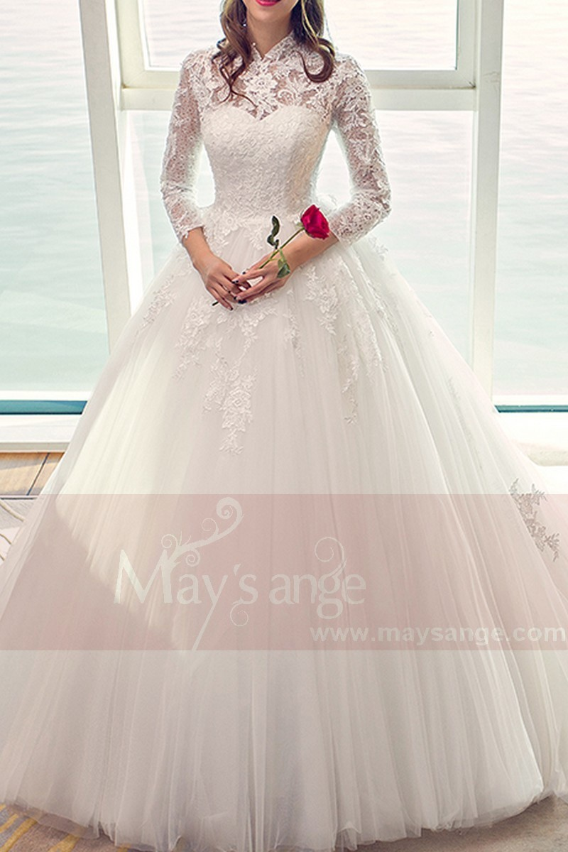 White Long Sleeve Gorgeous Lace Wedding Dress With High Neck - Ref M406 - 01