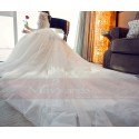 White Long Sleeve Gorgeous Lace Wedding Dress With High Neck - Ref M406 - 04