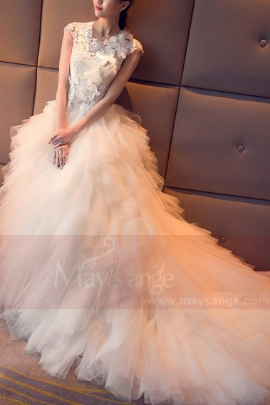 Cap Sleeve Tulle White Wedding Dress With Cascading Ruffle Skirt - M407 #1