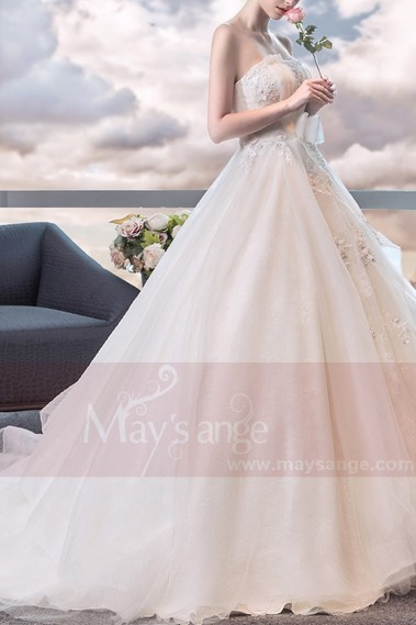 Wedding dress with train - robe de marié  M397 blanc - M397 #1