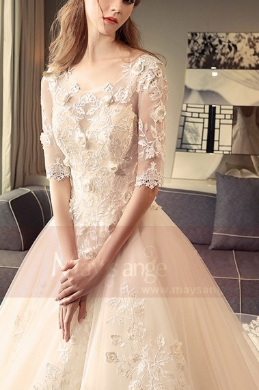 Champagne Pale Wedding Dress Illusion Lace And 3D Embroidery - M393 #1