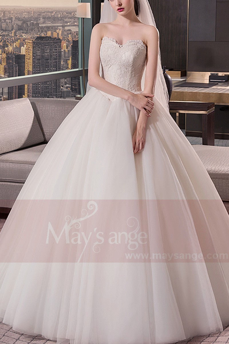 Tulle Strapless Wedding Dress With Lace Bodice - Ref M402 - 01