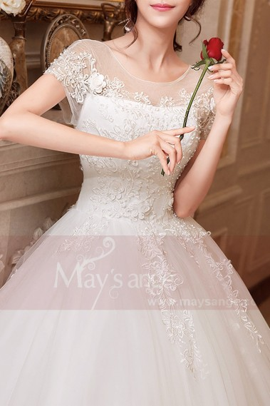 Short Sleeve White Princess Wedding dress With Lace Bodice - M404 #1