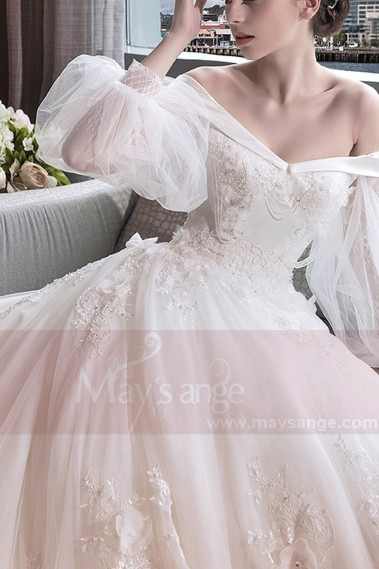 Princess Wedding Dress - Off-The-Shoulder Long Train Vintage Wedding Dress Bishop Sleeve - M396 #1