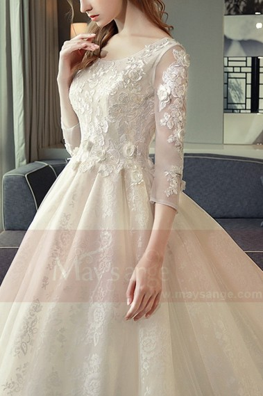 Organza Long Sleeve Princess Style Wedding Dress Champagne - M395 #1