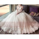 Long Train Lace Beaded Wedding Dress With Sleeves - Ref M403 - 03