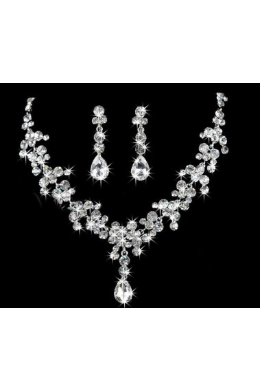 Stylish crystal white wedding necklace - E003 #1
