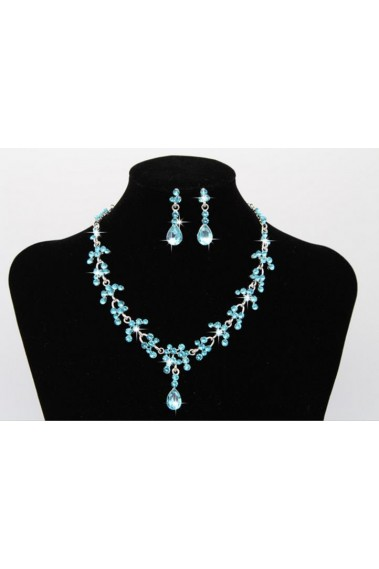 Cheap rhinestone blue pendant necklace - E004 #1