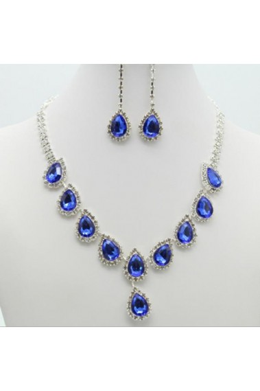 Cheap blue stone necklace and earring - E006 #1