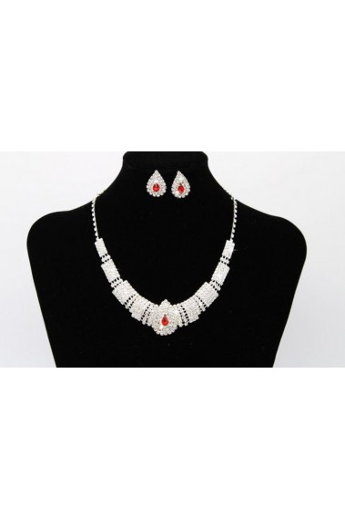Stylish stone sparkly red necklace set - E013 #1