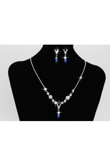 Cheap blue stone necklace and earrings - E015 #1