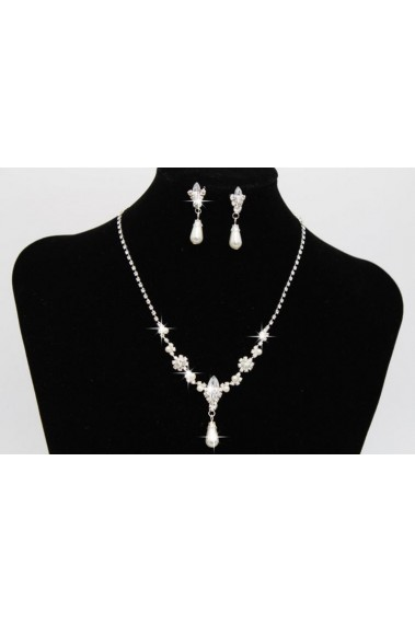 Wedding white crystal pendant necklace - E020 #1