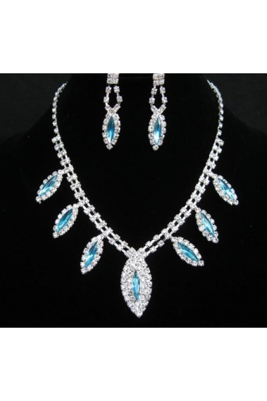 Blue crystal leaf necklace for wedding - E044 #1