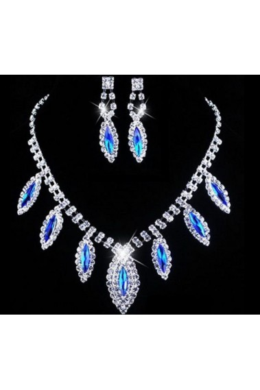 Blue crystal necklace and earrings set - E056 #1