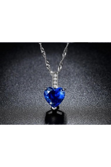 Stylish blue stone love heart necklace - F062 #1