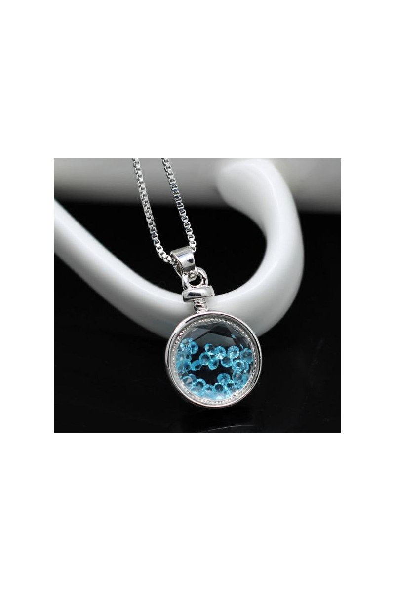 Circle pendant necklace blue crystal - Ref F063 - 01