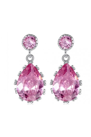 Pink Stone Statement Earrings Wedding - B041 #1