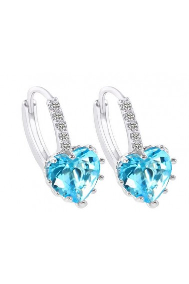 Silver blue heart stone hoop earrings - B058 #1