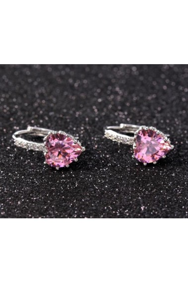 Cheap hoop crystal pink stone earrings - B059 #1