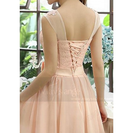 robe de cocktail C813 rose de la chair - Ref C813 - 03
