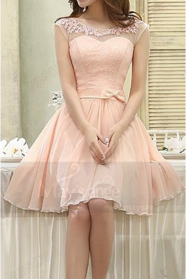 Long cocktail dress - Illusion Bodice Short Pink Bridesmaid Dress - C813 #1