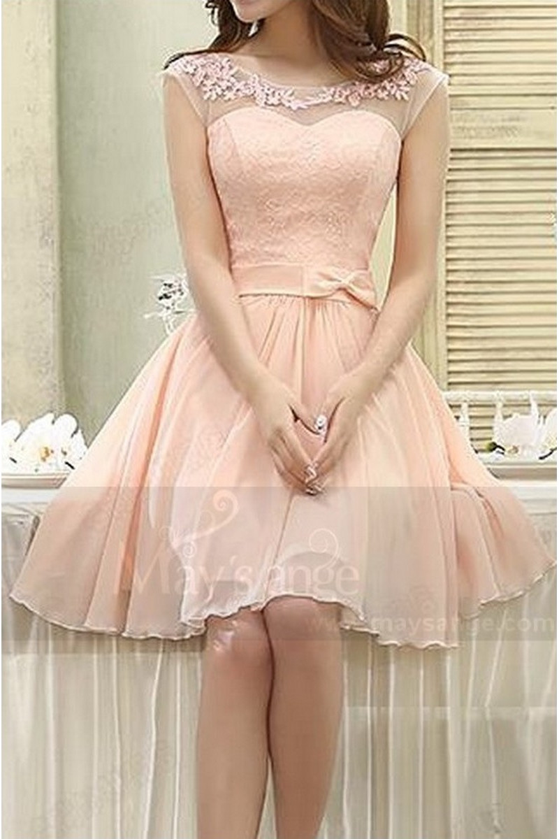 robe de cocktail C813 rose de la chair - Ref C813 - 01