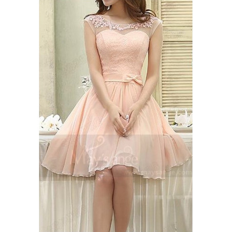 robe de cocktail C813 rose de la chair - Ref C813 - 02