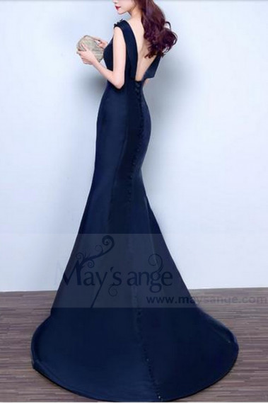 Blue evening dress - LONG EVENING GOWN CLASSIC MERMAID STYLE NAVY BLUE COLOR - L832 #1