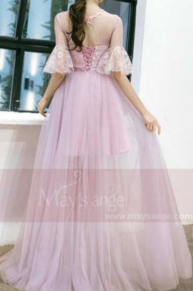 PINK LONG DRESS WITH ¾ LACE SLEEVED AND OPENING BACK - L833 #1