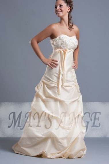 Long wedding dress - Peach Cream Taffeta Wedding Gown With Embroidered Bodice - M027 #1