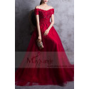 RED PROM DRESS OFF THE SHOULDER STYLE WITH FLORAL V-NECKLINE AND BEADED ORNAMENTS - Ref L835 - 02