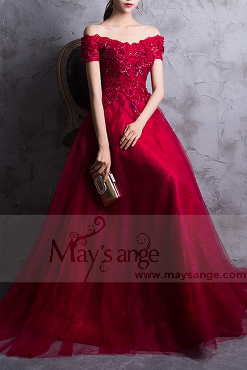 Red Prom Dress Off The Shoulder Style With Floral V Neckline And Beaded Ornaments