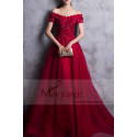 RED PROM DRESS OFF THE SHOULDER STYLE WITH FLORAL V-NECKLINE AND BEADED ORNAMENTS - Ref L835 - 03