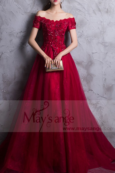 Red prom dress off the shoulder style with floral V neckline and beaded ornaments - L835 #1