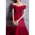 RED PROM DRESS OFF THE SHOULDER STYLE WITH FLORAL V-NECKLINE AND BEADED ORNAMENTS - Ref L835 - 05
