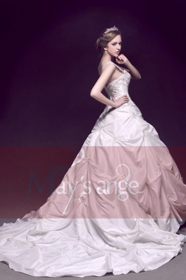 White wedding dress - Taffeta Embroidered Princess Wedding dress With Strap - M028 #1
