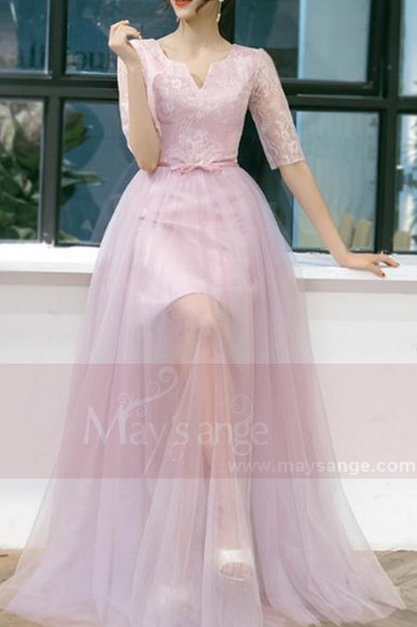 LONG PINK DRESS TOP LACE WITH ¾ SLEEVES - L838 #1