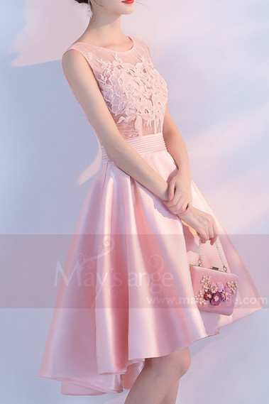 High-Low Satin Pink Bridesmaid Dress With Illusion Bodice - C871 #1