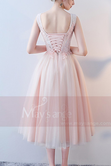 Tea-Length Tulle Pink Prom Dress With Lace Bodice - C872 #1