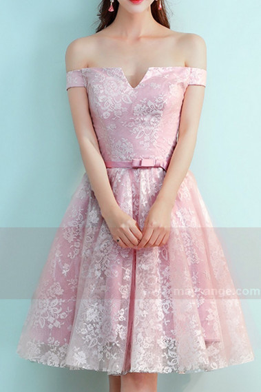 2018 Cocktail Dresses - Off-The-Shoulder Lace Pink Bridesmaid Dress With Belt - C873 #1