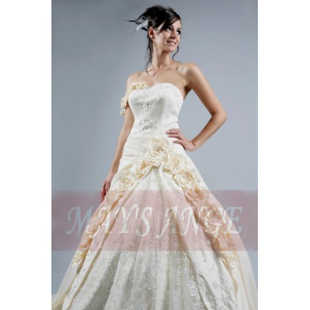 Cheap wedding dresses Peach with beautiful roses