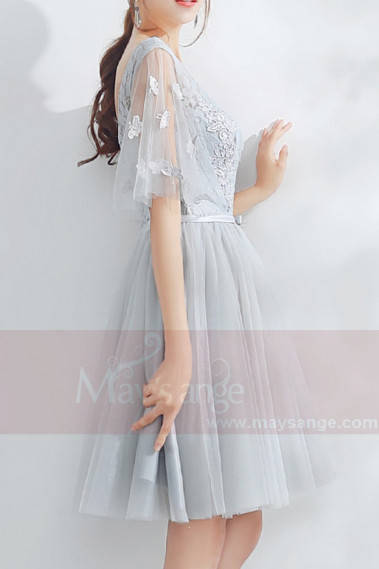 Short Tulle Silver Gray Wedding-Guest Dress With Lace Top - C875 #1