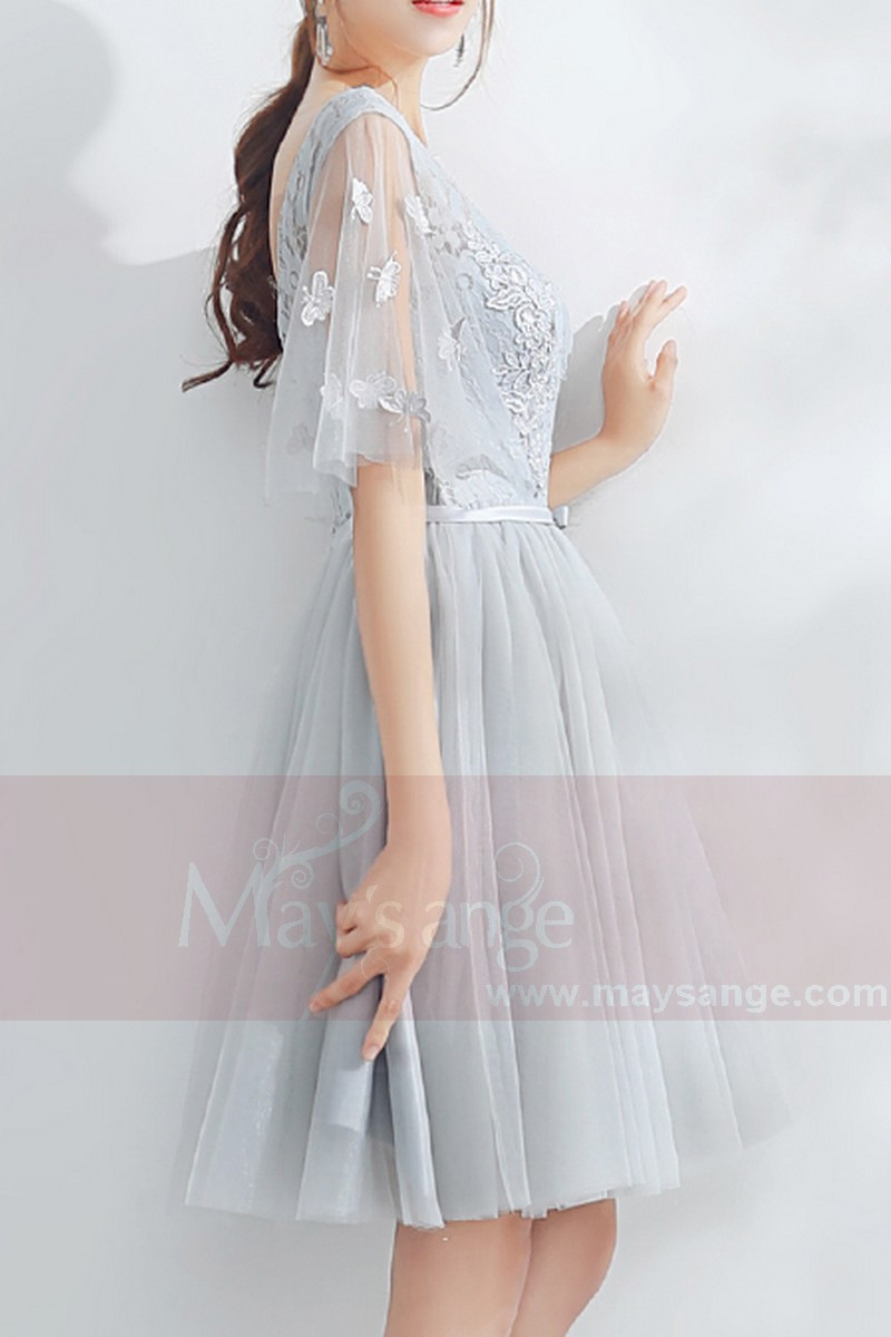 Short Tulle Silver Gray Wedding Guest Dress With Lace Top,Weddings Dresses Online