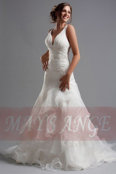 White wedding dress - V-Neck Lace wedding dresses Hailey with Ruffles - M031 #1