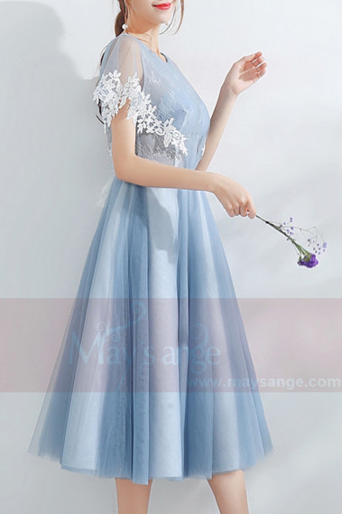Tulle Blue Tea-Length Prom Dress - C878 #1
